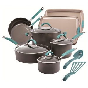 Rachael Ray 14 Piece Cucina Hard Anodized Cookware Set Agave Blue