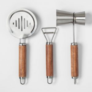 Stainless Steel and Wood Barware Tools Set with Soft-Grip Handles