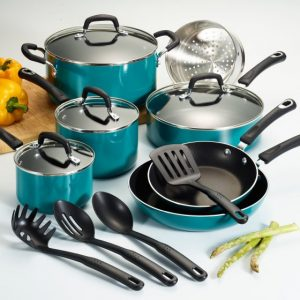 15 Pc Select Teal Nonstick Cookware Set