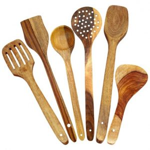 Handmade Wooden Spoons for Cooking and Serving Kitchen Tools, Set of 6