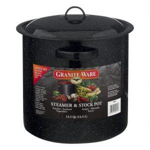 Granite-Ware Steamer & Stock Pot 15.5 Quart – 3 PC