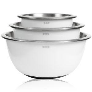 Non-Skid Mixing Bowls, Set of 3 White Stainless Steel
