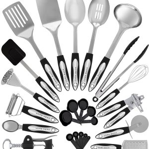 Stainless Steel Kitchen Utensil Set – 25 Cooking Utensils