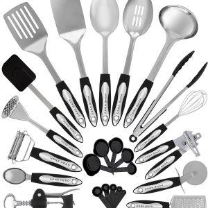 Stainless Steel Kitchen Utensil Set – 25 Cooking Utensils