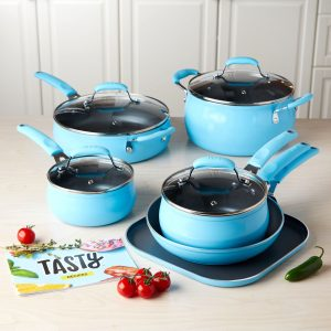 Blue 11pc Non-Stick Cookware Set – PFOA Free