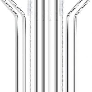 Reusable Stainless Steel Drinking Straws – Set of 8 Extra Long 10.5″